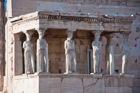 caryatids: The Porch of the Caryatids on the Acropolis of Athens  Greece  Stock Photo