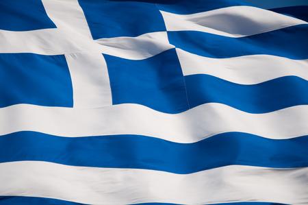 greek currency: Greek flag on Acropolis of Athens, Greece