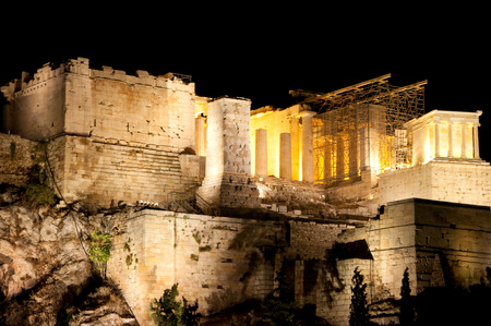 Acropolis of Athens at night from Areopagus hill  Athens  photo