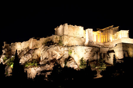 Acropolis of Athens at night from Areopagus hill  photo