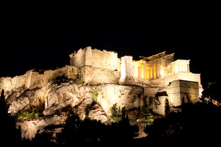 Acropolis of Athens at night  View from Areopagus hill  photo
