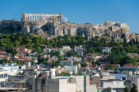 Aerial view of the Acropolis of Athens  Greece  photo