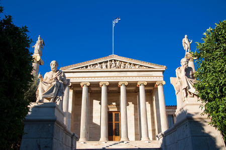 Academy of Athens with Plato and Socrates monument