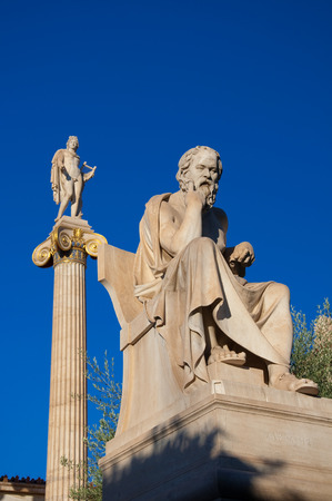 platon: The statue of Socrates  Athens, Greece  Stock Photo