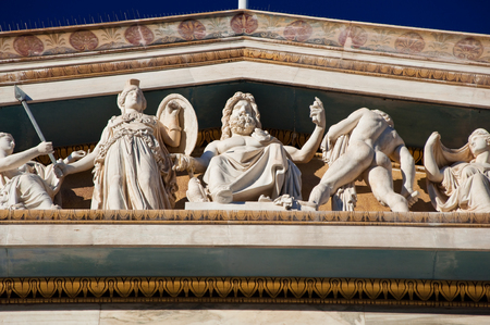Fronton of the Academy of Athens  Greece  photo