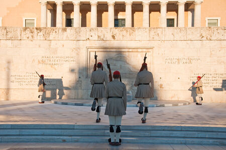 Syntagma Square and Evzones on August 4, 2013 Athens, Greece Editorial