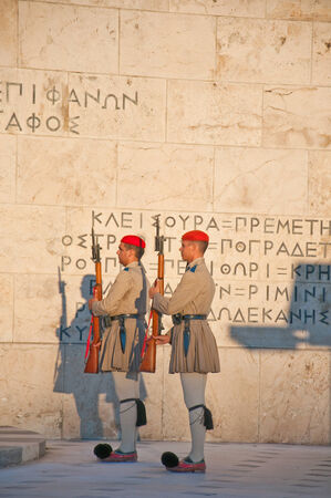 evzones guard: Evzones guard the Tomb of the Unknown Soldier on August 4, 2013 Athens, Greece