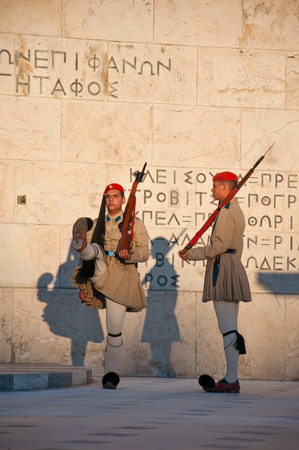 evzones guard: Evzones guard the Tomb of the Unknown Soldier on August 4, 2013 in Athens, Greece