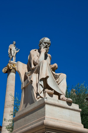 platon: The statue of Socrates in Athens, Greece  Editorial