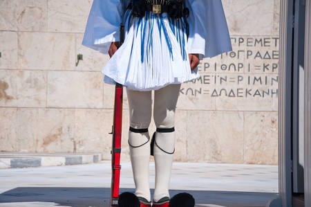 evzone: Evzone guards the Tomb of the Unknown Soldier  Athens, Greece  Stock Photo