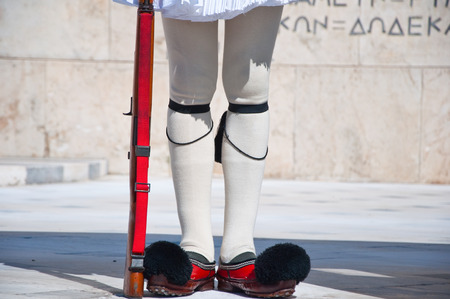 Evzone guards the Tomb of the Unknown Soldier  Athens, Greece  photo