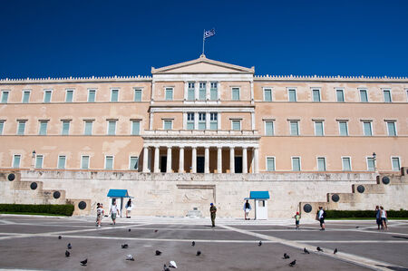 Syntagma Square and Greek Evzones on August 4, 2013 in Athens, Greece  Editorial