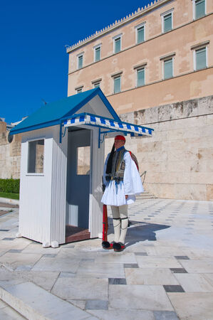 Evzone guards the Tomb of the Unknown Soldier on August 4, 2013 in Athens, Greece