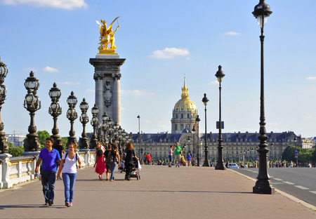 invalides: The Pont Alexandre III with the north front of the Invalides in the background on July 9, 2009 in Paris