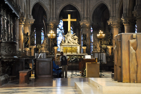 high altar: The high altar in the Notre-Dame in Paris, France on August 15, 2012  Editorial