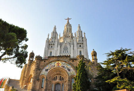 cor: The Temple Expiatori del Sagrat Cor on the summit of Mount Tibidabo in Barcelona, Spain