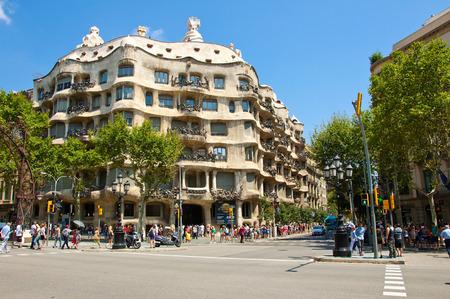 BARCELONA-JULY 25  La Pedrera  Antoni Gaudi  on July 25, 2012 in Barcelona  Editorial
