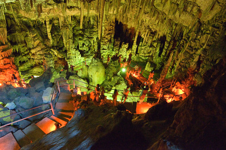 CRETE,GREECE-JULY 21  Tourists in the Cave of Zeus on July 21,2014 on the Crete island in Greece  Editorial