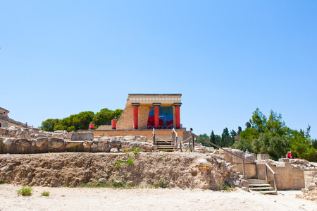 ancient greece: North Entrance with charging bull fresco at the Knossos palace on the Crete island, Greece  Stock Photo