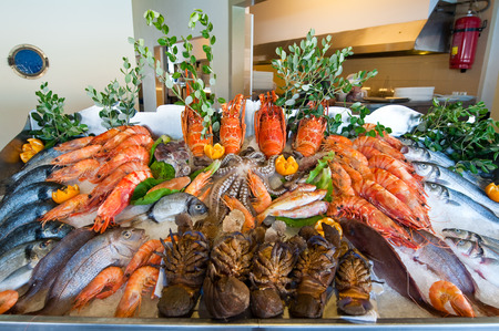 Seafood displayed at the local restaurant on the island of Crete, Greece  photo