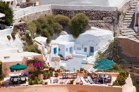thera: Oia appartments on the island of Thera  Santorini , Greece  Stock Photo