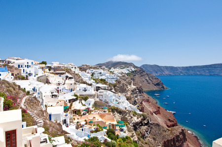 thera: Colorful Oia on the island of Thera also known as Santorini, Greece