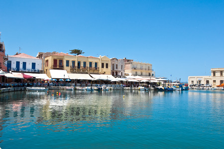 rethymno: View of the old harbour. Rethymno, Crete island, Greece. Stock Photo