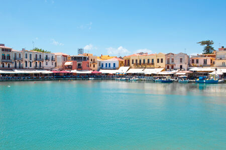 rethymno: View of the old venetian harbour. Rethymno, Crete island, Greece.