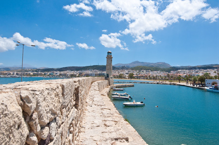 The old harbour with the lighthouse in Rethymno city, The Crete island,Greece. photo