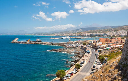 Panoramic view of Rethymno city on the Crete island, Greece. photo