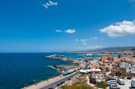fortezza: View of Rethymno city from Fortezza on Crete, Greece. Stock Photo
