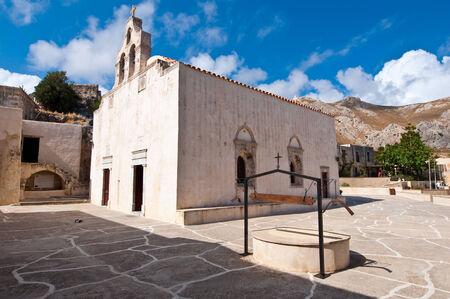 libyan: View of Preveli Monastery. Crete island, Greece.