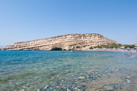libyan: Libyan sea and Matala sandy beach on the Crete island, Greece. Stock Photo