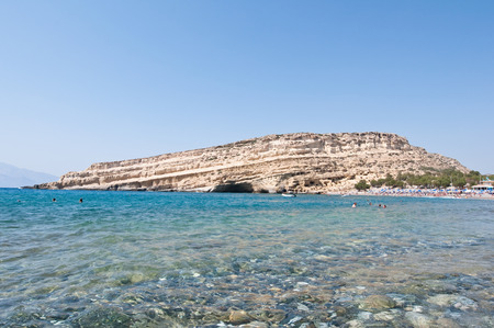 nudism: Libyan sea and the coast of Matala beach on the Crete island, Greece. Stock Photo