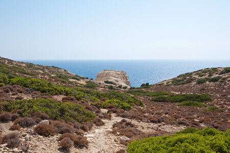 nudism: Libyan sea and mountain near Matala beach on the Crete island, Greece.