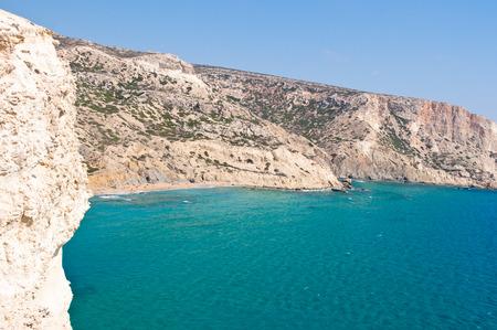 Libyan sea and the coast of the red beach near Matala beach on the Crete island, Greece.