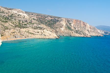 Libyan sea and the red beach near Matala beach on the Crete island, Greece.