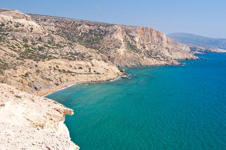 Libyan sea and the coast near Matala beach on the Crete island, Greece. Stock Photo