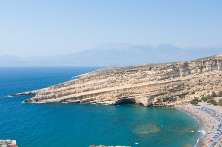 nudism: Panoramic view of Matala caves and Matala beach on Crete island, Greece.