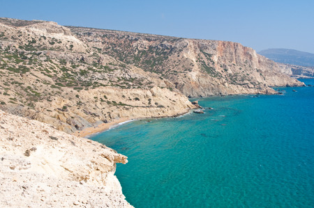 nudism: Libyan sea and clothing-optional beach near Matala beach on Crete island, Greece. Stock Photo