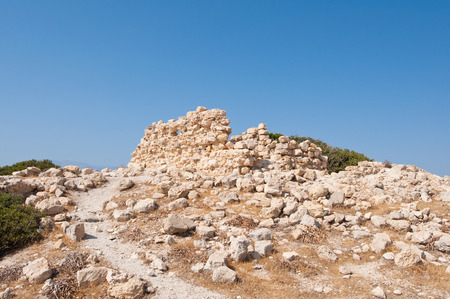nudism: Remains of the building near Matala beach on the Crete island, Greece.