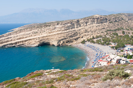 nudism: Panoramic view of Matala village and Matala beach on the Crete island, Greece.