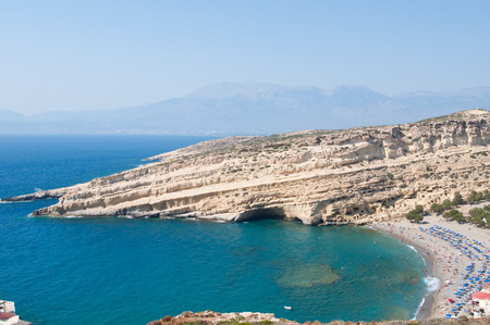 nudism: Panoramic view of Matala caves and Matala beach on the Crete island, Greece.