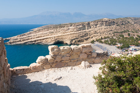 nudism: View Beach of Matala from the mountain near Heraklion town on the island of Crete, Greece. Stock Photo
