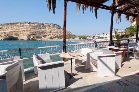 nudism: Local restaurant in Matala village on July 22,2014 on the island of Crete, Greece.