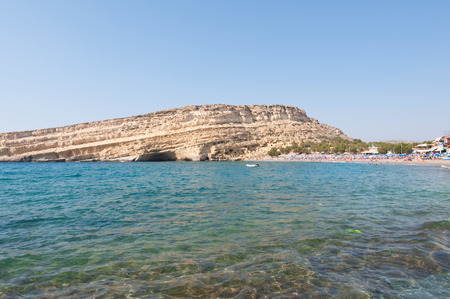 Libyan sea and the coast of Matala beach.Crete island, Greece. Stock Photo