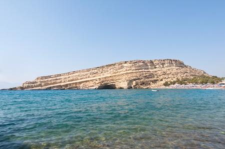 Libyan sea and the coast of Matala beach on Crete, Greece.
