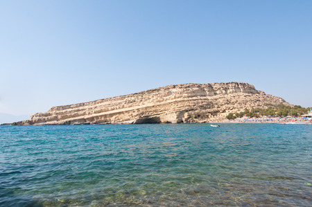 nudism: Libyan sea and the coast of Matala beach on Crete, Greece.
