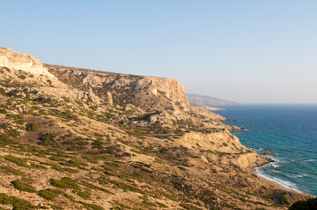 nudism: Libyan sea and mountain landscape near Matala beach on the Crete island, Greece.