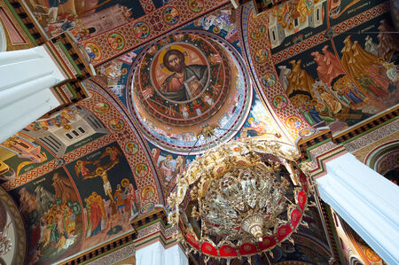 nave: CRETE,HERAKLION-JULY 25: Dome painting in the Agios Minas Cathedral on July 25 in Heraklion on the Crete island, Greece. The Agios Minas Cathedral is a Greek Orthodox Cathedral in Heraklion, Greece.